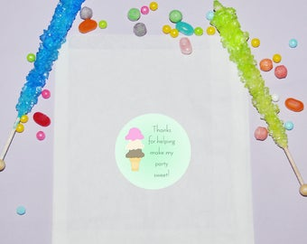 Ice Cream Birthday Favor Bags, Personalized Treat Bags, Snack Birthday Party Favors, Candy Ice Cream Party Bags, Treat Favor Bags