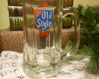 Vintage Heilemans Old Style Beer Glass Mug, 12 Ounce Heilemans Old Style Beer Glass Mug   (T)