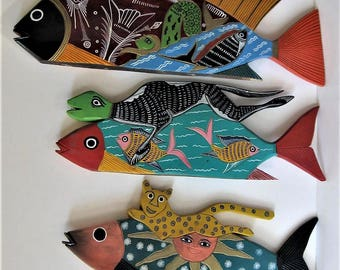 """3 vintage painted and carved wood fish, 18"""" long, Free standing, Beach Cottage Decor, Nautical sculptures, Sunburst, lizzard, gift idea"""