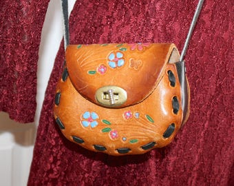1970s Hand Tooled Leather Purse . Vintage 70s SMALL Brown Leather Painted Flowers Butterfly Boho Hippie Crossbody Shoulder Bag
