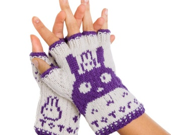 Totoro Fingerless Gloves - Hand-Knit From Pure Merino Wool. Totoro Gloves Arm Warmers Merino Fingerless Gloves Purple Texting Gloves Spring