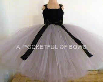 Silver Flower Girl Dress Girls Gray Ball Gown Silver Tulle Dress