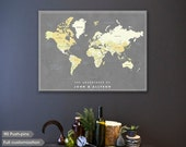 Push Pin map canvas, custom world travel map for couples, girft for couple, traveler pin map, Ready to hang - Valentine's day gift SALE