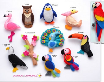 BIRDS Felt Magnets - Price per 1 item - make your own set - Flamingo,Eagle,Parrot,Owl,Pelican,Toucan,Peacock