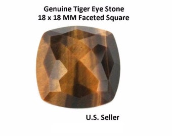 100% Natural Tiger Eye 18 x 18 MM Faceted Square (Pack of 1)