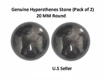 100% Natural Hypersthenes Cabochon 20 MM Round (Pack of 2)