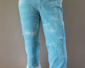 Christian clothing women's tie dyed destressd walk with Jesus aqua blue capri size 2, white lace