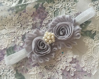 Baby headband, Gray Headband, GRAYgirls headband, Shabby Chic Flower Headband, Baby Girl Headband, Newborn Headband