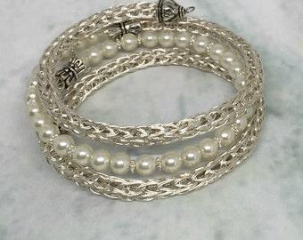 Silver and pearl viking knit ladies wrap bracelet