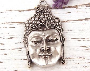 Large Buddha Face Pendant, Yoga Pendant, Meditation Jewelry, Antique Silver Plated, 1 piece // SP-281