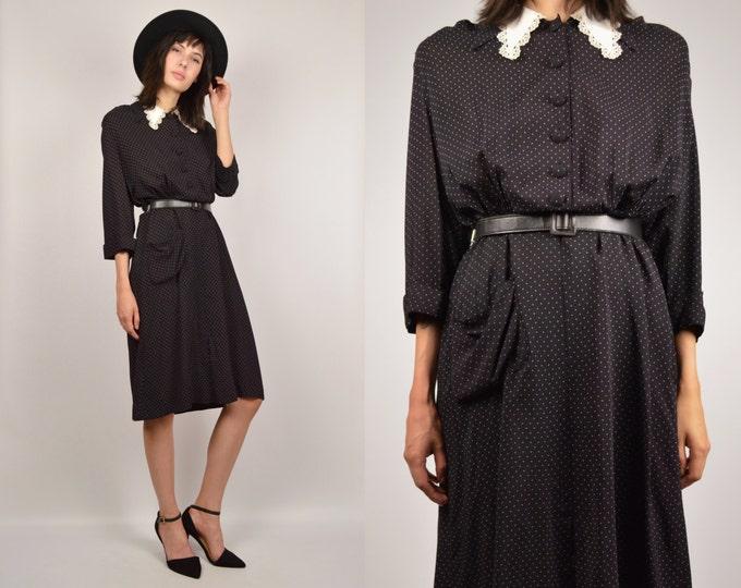 1940's Black & White Vintage Dress