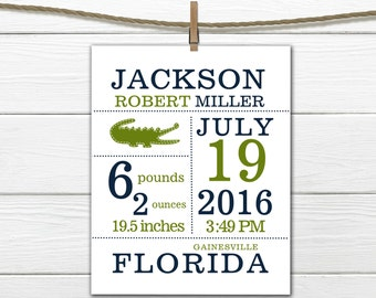Alligator Birth Announcement Print Alligator Nursery