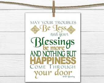 St Patricks Day Decor - Irish Blessing Print - Subway Art  Instant Download Printable 8x10