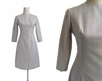 Grey 1960's Dress - 60's Dress - Vintage Dress - Grey Check Dress - Terylene Wool - XS Small