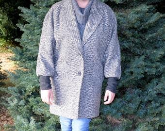 Women's Winter Coat, Gray and Beige Coat, Vintage  Jacket, Ladies' Coat, Short Pea Coat, Women's Gray Wool Coat