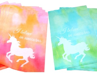 """Sale! 100 Pastel Pink and/or Blue Unicorn 10x13"""" Flat Poly Mailers, Animal Lovers Self Sealing Flat Mailers, Colored Shipping Mailer Bags"""