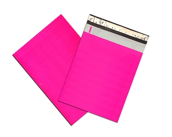 """10"""" x 13"""" True Hot Pink Poly Mailers, Neon Pink Self Sealing Flat Envelope Mailers, Florescent Colored Pink Flat Mailer Bags (100 Pack)"""