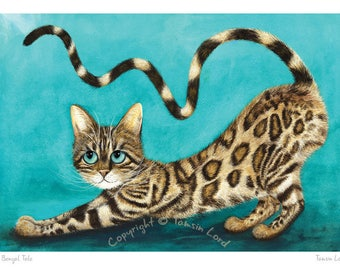 A Bengal Tale - Tamsin Lord Fun Feline Fine Art Print. Available Unmounted or Mounted and the Perfect Cat Lover's Gift