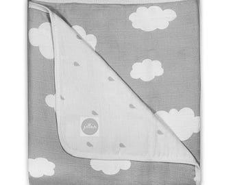 Grey Cotton Muslin Baby Blanket Clouds Pattern 75x100cm
