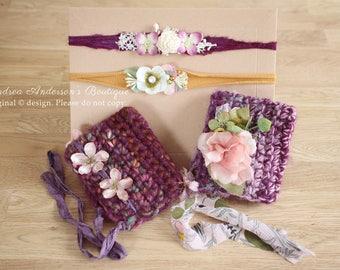 "Newborn Baby Girls ""BARGAIN BUNDLE"" Prop Set: 2 Crochet Pixie Bonnet Hats and 2 Tieback Headbands. Ready to Ship Photography Props UK Seller"