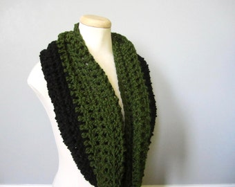 Crochet St. Patrick's Day, Dark Green, Olive Green, Green Black, Color Block Cowl Neck Scarf, Women's Scarf, Men's Scarf, Unisex Scarf