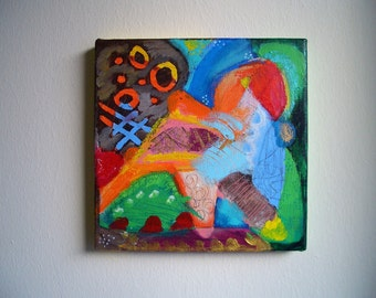 small, colored, lively acrylic painting on canvas