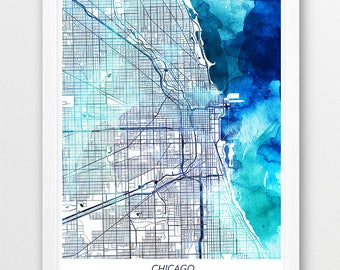 Chicago Map Print, Chicago Poster Print, Chicago Illinois Urban Street Map, Blue Watercolor,Home Wall Office Printable Art Gift,Travel Decor