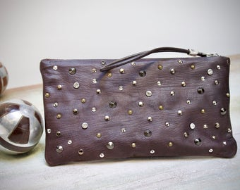 studded clutch, brown leather clutch hand made, studded purses, pochette brown with studs and strass