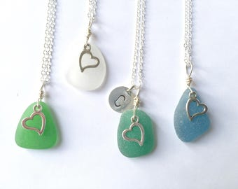 Sea glass heart necklace - choice of colors - sea glass gift - personalized sea glass necklace