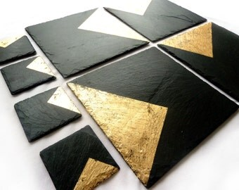 Slate & Gold placemats, coasters, handmade UK, geometric decor, contemporary, choose copper, silver, gold, gift for her, anniversary gift