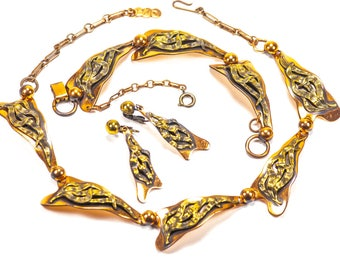 Modernist Copper Parure Necklace Bracelet Earrings  Set Foliate Panel 3D Two tone