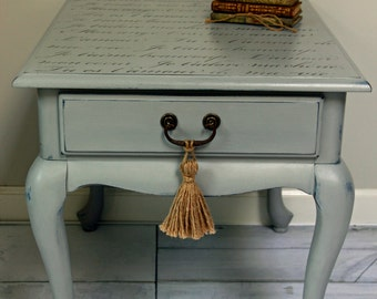 SOLD Hand Painted, Side table, End Table, Night Stand With French Typography,  Shabby Chic,  Cottage Chic, Country French