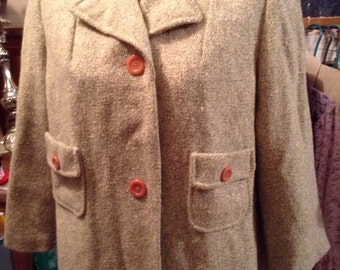 Vintage hipster kitsch 60s Mr Gerrys Minatures ladies petite tweed winter coat size 14 free domestic shipping
