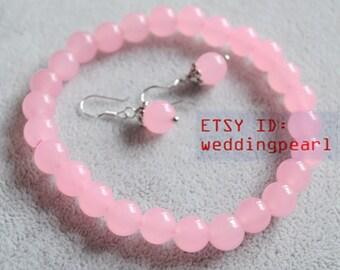 pink jade bracelet and earrings set,8mm pink bead bracelet earrings set,bridemaid jewelry set, pink jade earring set,children jewelry