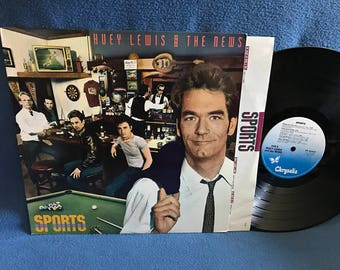 """Vintage, Huey Lewis & The News - """"Sports"""" Vinyl LP Record Album, Original 1983 Press, Classic Rock, Heart And Soul, If This Is It"""