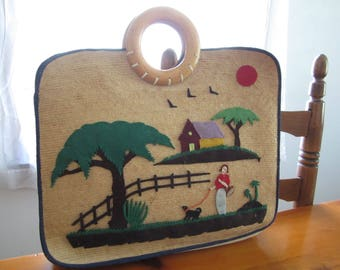 Cute Vintage Straw Tote Bag, Lady Walking a Dog, Felt Cutout Scenery, Retro Woven Bag