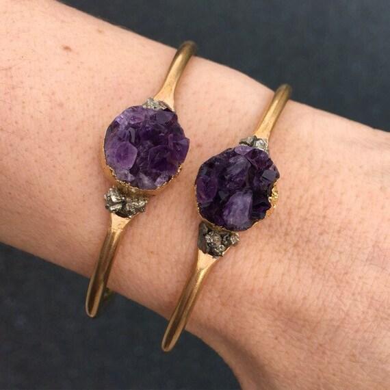 Amethyst Druzy Cuff Bracelets