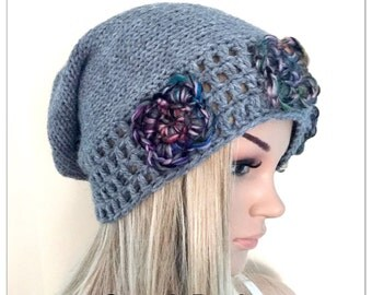 BUY1GET1HALFPRICE unique designer womens teens hand crocheted knitted oversized slouch beanie snood hat grey boho tam flowers floral irish