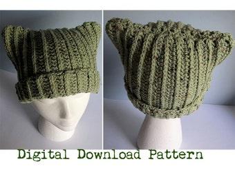 Crochet Cat Ear Hat / Crochet Ribbed Cat Ear Beanie With Rolled Cuff / Crochet Cat Ears /  Adult & Teen Crochet Cap - Digital Download