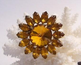 Amber Topaz Rhinestone Flower Pin Brooch