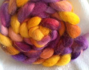 Shining Viking, purples, blues, golds, Icelandic wool roving,4 oz., spin, felt, knit