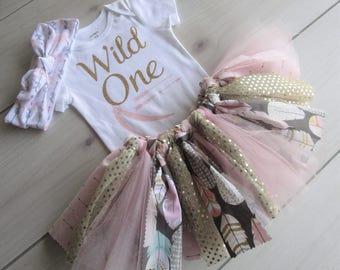 WILD ONE Tutu Set/1st Birthday Outfit/Baby Girl Tutu/Tribal Tutu Outfit