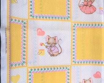 Vintage Cotton Print Fabric, mouse pattern Springs Ind. lightweight flannel remnant, pastel baby material, shower crafts baby pillow