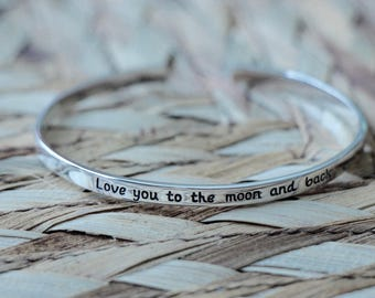 Love you to the moon and back- cuff bracelet- sterling silver- mother daughter bracelets- mothers day gift- daughter bracelet