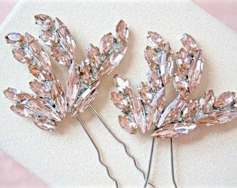 Blush Rhinestone Hair Pins,Blush Bridal Hair Pins,Blush Wedding Hair Pins,Blush Crystal Hair Pins,Blush Hair Piece,Blush Hair Accessories