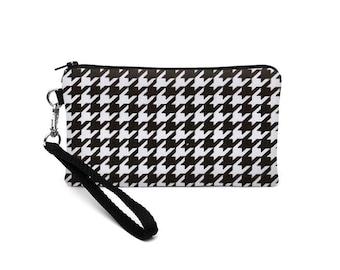 Women's iPhone 7 Wallet, Black Samsung Galaxy S7 Wristlet, iPhone 6 Plus Case, Galaxy Note Edge Purse - black, white houndstooth