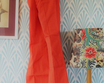 "50. 60s/70s Siclat flared pants tangerine red (W35-L103cm / W13.8-L40.6"")"
