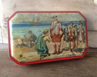 1930s Biscuit Tin Bonnie Prince Charlie Historical Collectable Decor