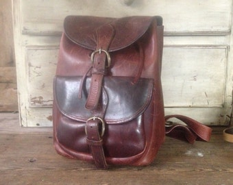 Leather Backpack Rucksack Chestnut Brown Size Large