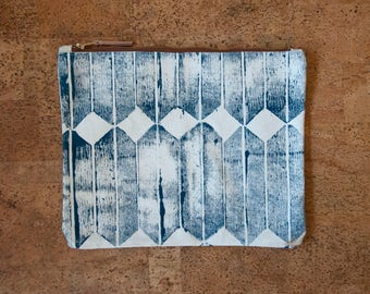 Blue Block-Printed Canvas Zippered Clutch